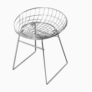 KM05 Chrome Wire Stool Chair by Cees Braakman for Pastoe, 1960s