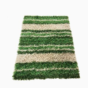 Large Vintage Swedish Multicolor High Pile Rya Rug from Tabergs, 1970s