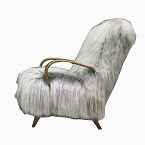 Vintage Bentwood and Gray Sheepskin Armchair