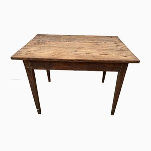 Wooden Farm Desk Table with Drawer, 1930s