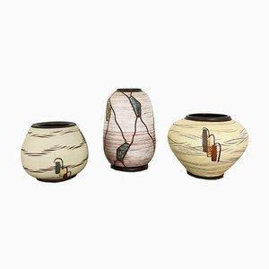 Deutsche Mid-Century Keramik Vasen von Franz Schwaderlapp für Sawa Keramik, 1960er, 3er Set