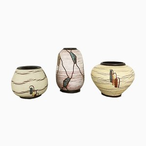 Mid-Century German Ceramic Vases by Franz Schwaderlapp for Sawa Keramik, 1960s, Set of 3