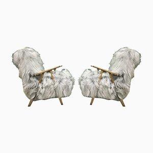 Vintage Armlehnstühle aus Bugholz & Grauem Schafsfell, 2er Set