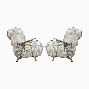 Vintage Bentwood and Gray Sheepskin Armchairs, Set of 2