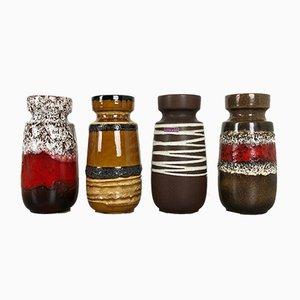 Deutsche Vintage Fat Lava Nr. 242-22 Vasen von Scheurich, 4er Set