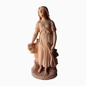 Antikes Mädchen aus Terrakotta mit Mandolinen Skulptur