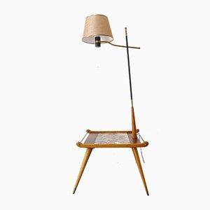 Stehlampe aus Eschenholz und Undianuno Holz, 1950er