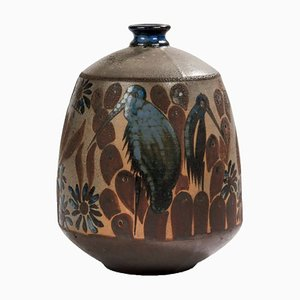 Art Deco Ceramic Vase with Ibis Decor by Primavera, 1920s