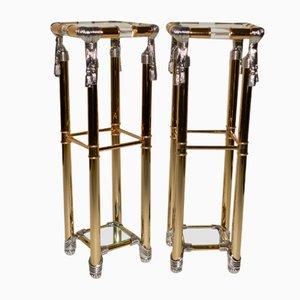 Vintage Hollywood Regency Pedestal Tables from Curvasa Meubles, 1980s, Set of 2