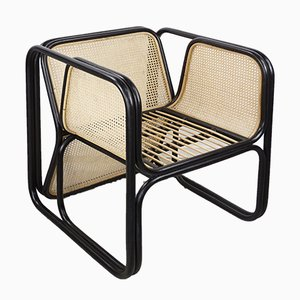 Vintage Rattan and Cane Lounge Chair