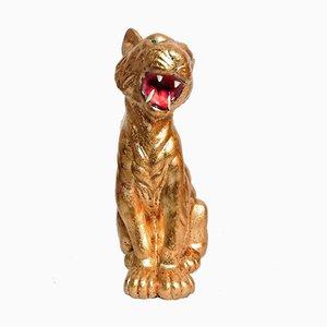 Tigre vintage in foglia d'oro e ceramica