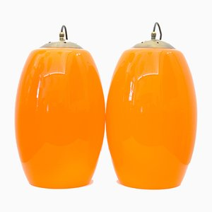 Ceiling Lamps in Orange and White Murano Glass with Brass Finishes, 1950s, Set of 2