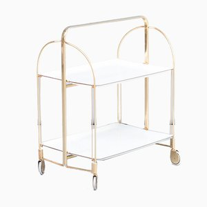 Brass and White Serving Trolley, 1950s