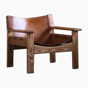 Vintage Scandinavian Pinewood and Leather Lounge Chairs, 1970s, Set of 2