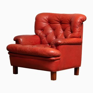 Red Buffel Leather and Quilted Lounge Chair by Arne Norell for Arne Norell AB, 1960s