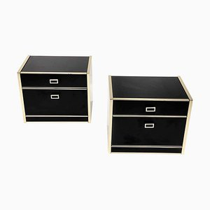 Nightstands in Black Lacquered and Brass from Doubinsky Freres, France, 1970s, Set of 2