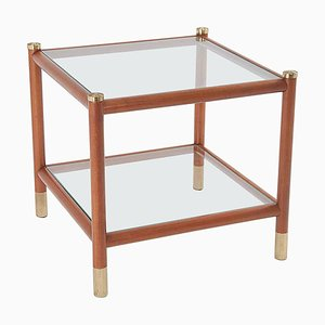 End of Table in Wood and Brass by Maison Lancel, France, 1965
