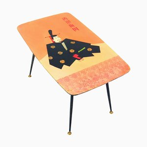 Mid-Century Coffee Table with Japanese Heian Warrior, 1950s