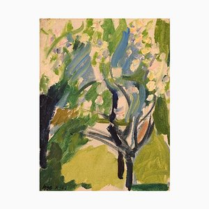 Swedish Oil on Board Trees in the Garden by Igge Karlsson, 1962