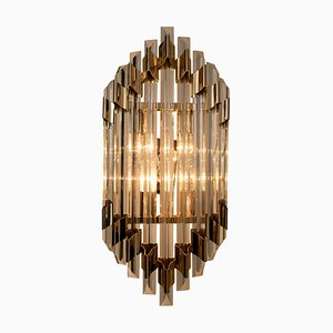 Large Murano Glass and Brass Sconce Flush Mount in the Style of Venini, Italy, 1960s