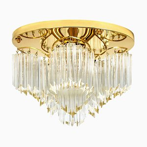 Triedri Crystal Gold-Plated Flush Mount by Venini, Italy, 1970s