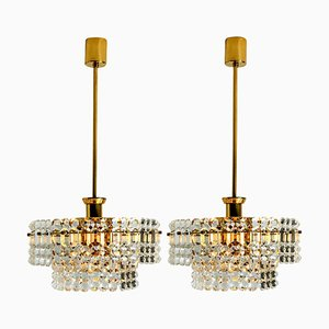 Gold-Plated Crystal Glass Chandeliers by Kinkeldey, 1970s, Set of 2