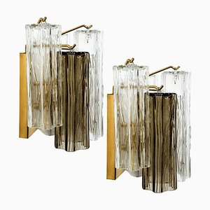 Smoked and Clear Glass Wall Lights by J.T. Kalmar, Austria, 1960s, Set of 2