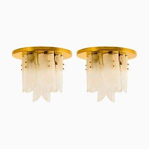 Brass and Glass Flush Mounts by J.T. Kalmar, 1960s, Set of 2