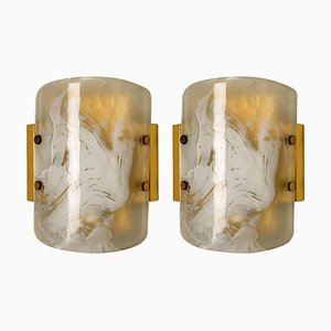 Murano Glass and Brass Sconces by J.T. Kalmar, Austria, 1960s, Set of 2