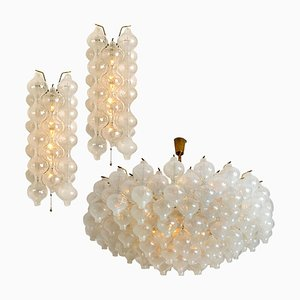 Large Glass and Brass Tulip Light Fixtures by J.T. Kalmar, 1970s, Set of 3