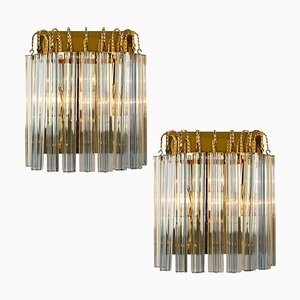 Murano Glass and Gilt Brass Sconces with Grey Stripes in the Style of Venini, Italy, 1970s, Set of 2