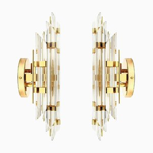 Murano Glass and Gold-Plated Sconces in the Style of Venini, Italy, 1970s, Set of 2