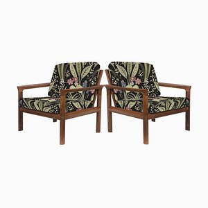 Upholstered Embroidered Sculptural Easy Chairs by Sven Ellekaer, 1960s, Set of 2