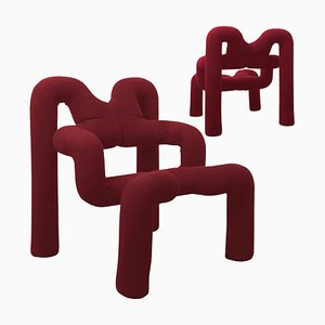 Bordeaux Armchairs by Terje Ekstrom, Norway, 1980s, Set of 2