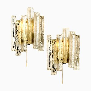 Ice Glass Sconces, Austria, 1960s, Set of 2