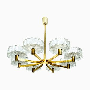 Chandelier with 8 Icicle Glass Shades and Brass in the Style of Kalmar, 1960s