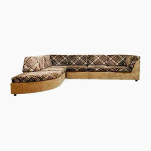 Vintage Brown and Beige Criss-Cross Modular Sofa, 1960s