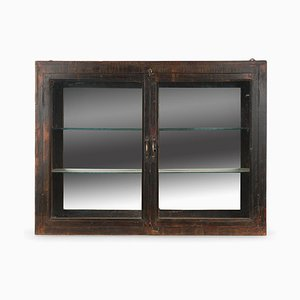 Wall-Mounted Display Case in Patinated Wood and Interior Mirror, 1940s
