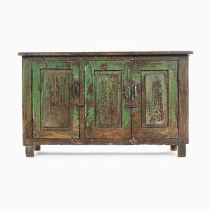 Green Patinated Wooden Sideboard, 1940s