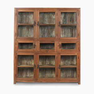 Glass Cupboard with 9 Wooden Compartments, 1940s