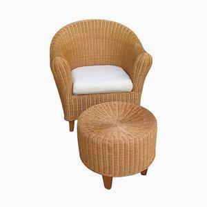 Vintage Wicker Armchair & Footrest, Set of 2