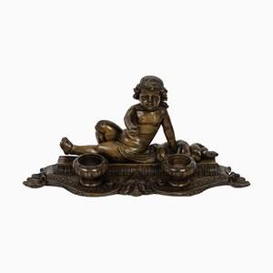 19th Century Inkwell in Wood Figuring a Child