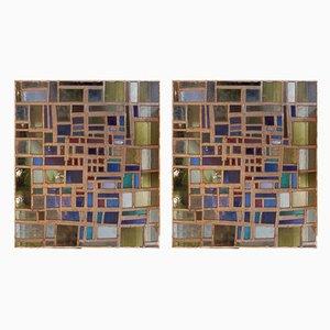 Gebeiztes Glas, 1970er, 2er Set