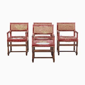 19th Century Walnut Coronation Armchairs, Set of 4