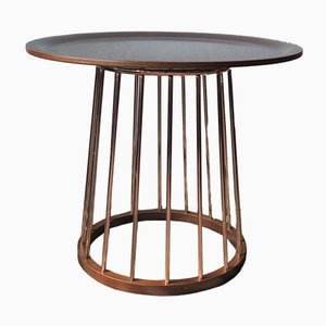 Vintage Teak and Copper Round Coffee Table