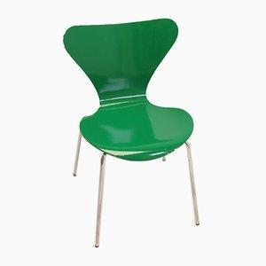 Sedia da pranzo modello 3107 verde di Arne Jacobsen per Fritz Hansen, 1979