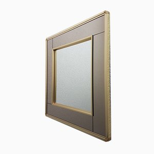 Gold-Plated Square Mirror with 2-Tone Mirrored Glass from Belgo Chrom / Dewulf Selection, 1980s