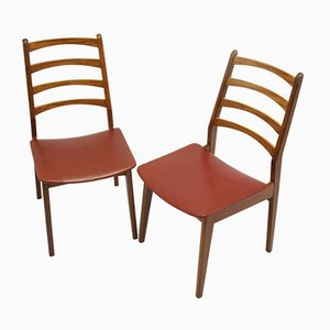 Teak and Red Vinyl Dining Chairs, 1960s, Set of 2