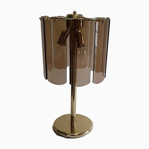 Vintage German Gilt Metal and Cut Smoked Glass Table Lamp from Wortmann & Filz, 1970s