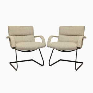 Vintage Bauhaus Style Steel and Fabric Lounge Chairs, 1960s, Set of 2